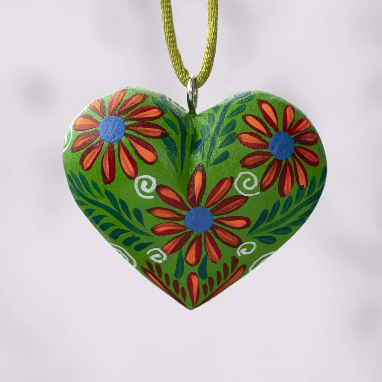 Mexican Heart Hand Painted Necklace