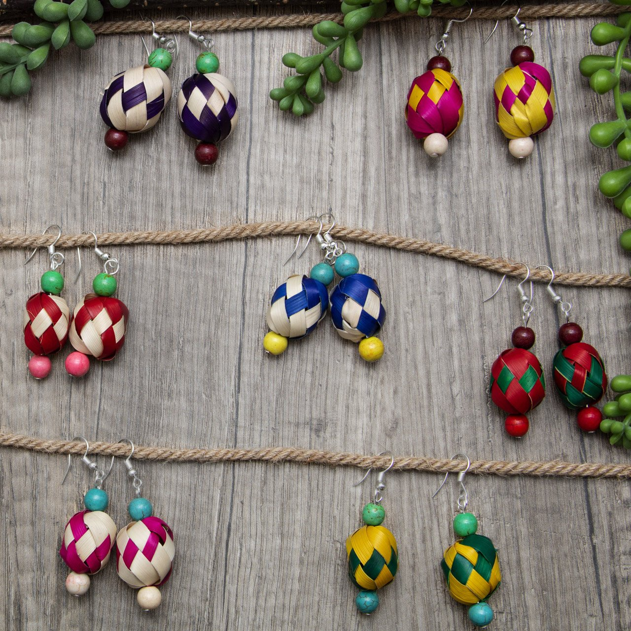 Colorful Woven Palm Beads Earrings