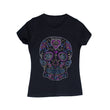 Rhinestone Embellished Sugar Skull Design T-Shirt -Black