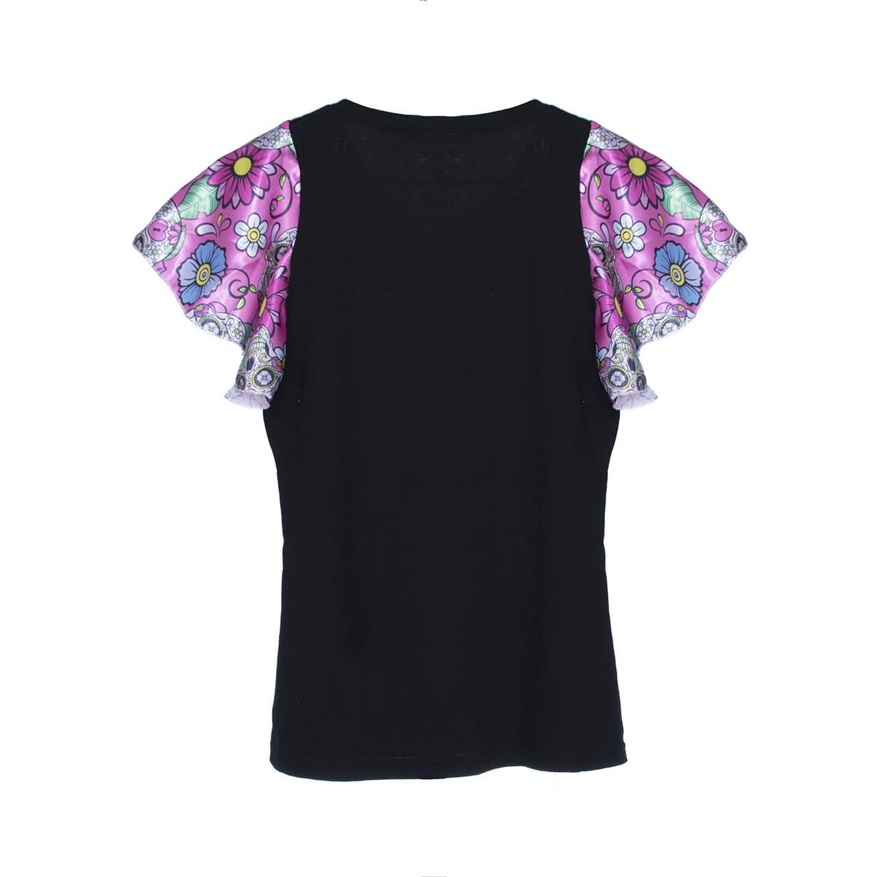 Flare Sleeve Mexican T-Shirt with Sequin Sugar Skull Changing Design - Black
