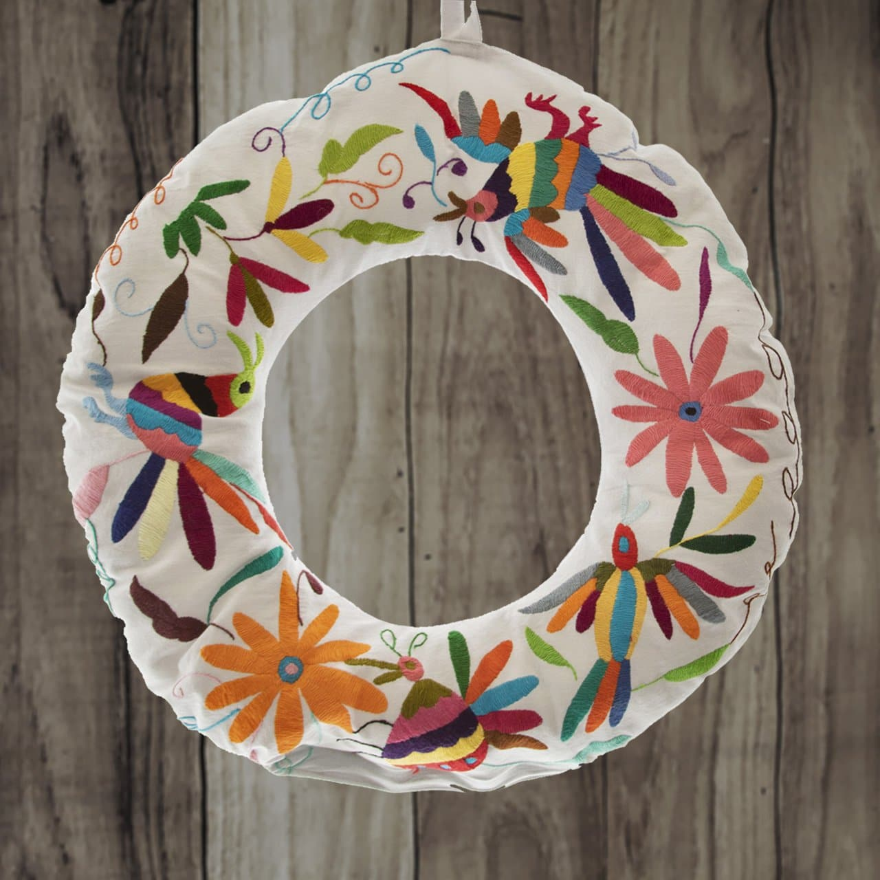 *Winter Collection* Otomí Embroidered Plush Cover for Christmas Wreath