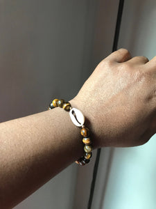 Tiger Eye Cowrie Shell Bracelet