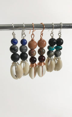 Afrocentric Gemstone & Wire Wrap Cowrie Earrings