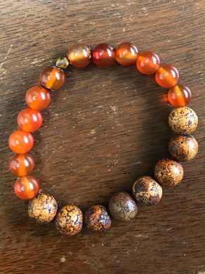 Coffee and Carnelian Bracelet