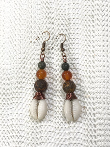 Gemstone Cowrie Earrings