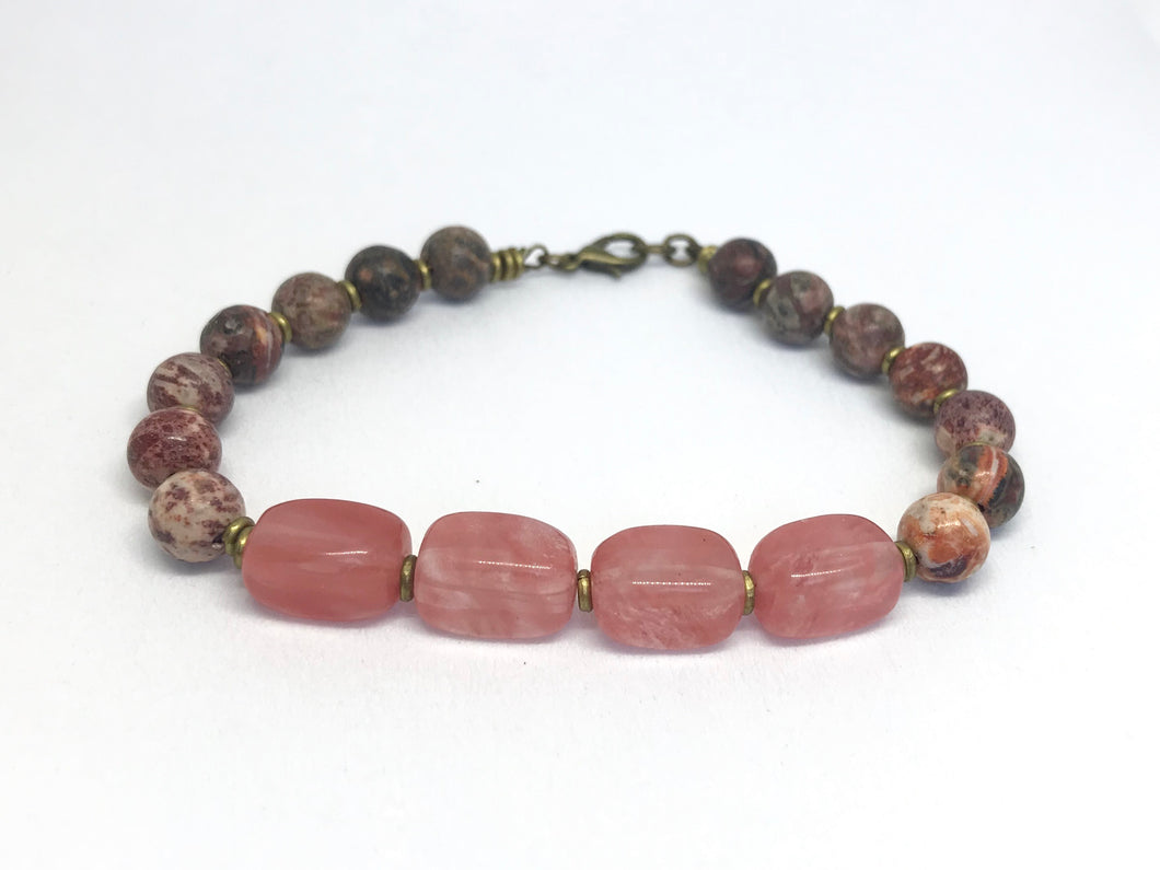 Cherry Quartz and Jasper Bracelet