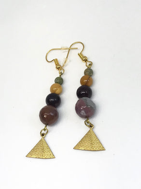 Gemstones with Brass Pyramid Earrings