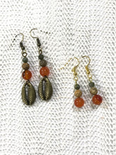 Load image into Gallery viewer, Antique Bronze Gemstone Earrings