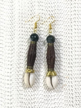 Load image into Gallery viewer, Wood Cowrie Shell Earrings