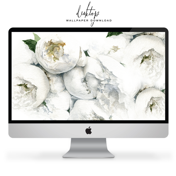 *Free* Wallpaper For Your Tech: White Peonies