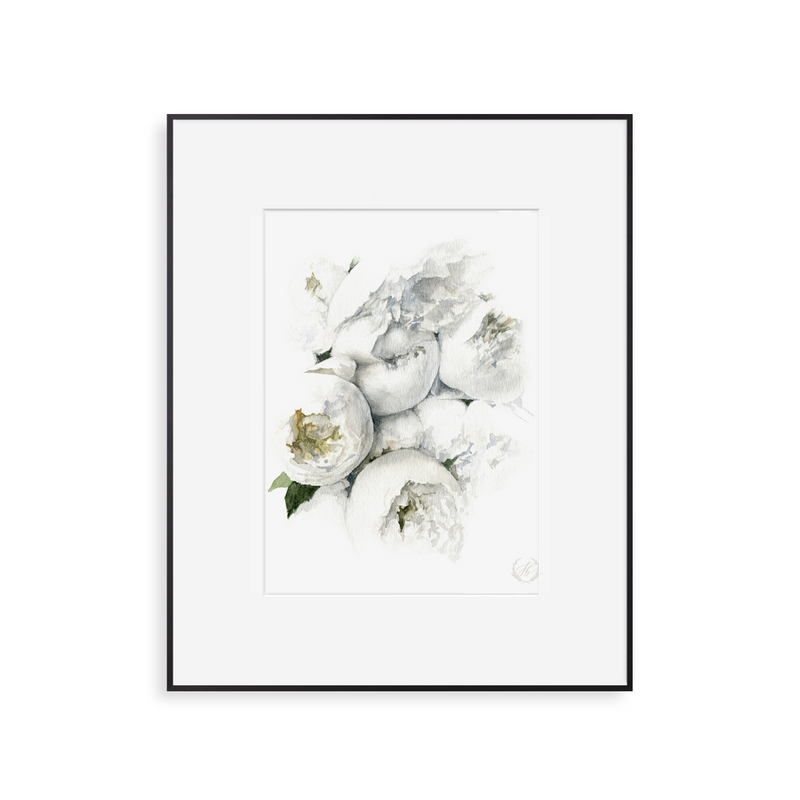 Watercolor Peony Bouquet Print