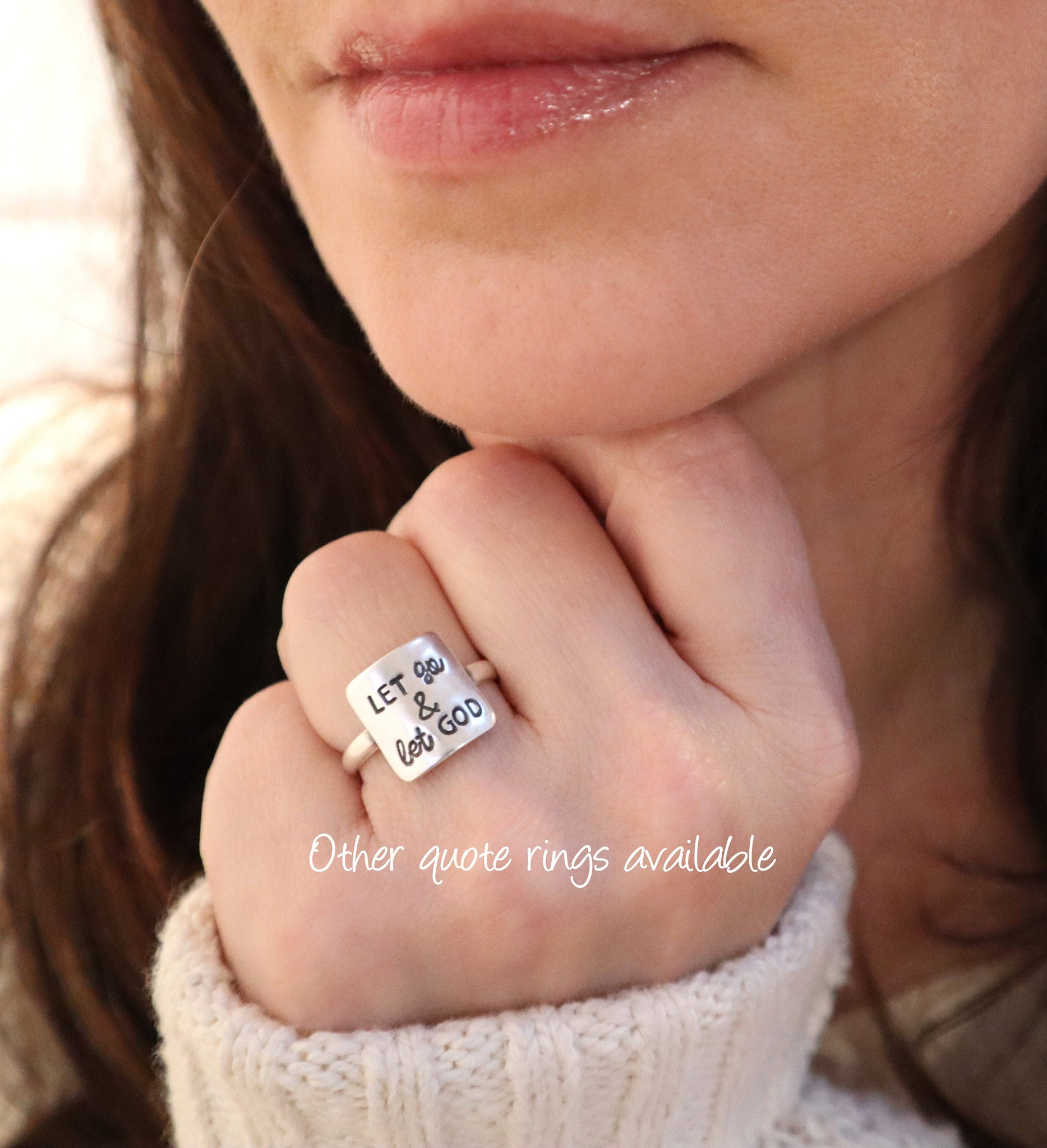 24K Gold Finish Sterling Silver Finish Faith Over Fear Quote Ring Inspirational Jewelry Faith Quote Jewelry Motivational Mantra Ring