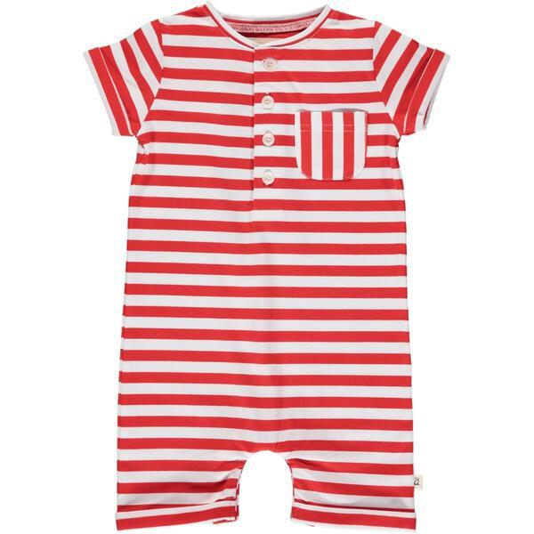RED/WHITE STRIPED HENLEY ROMPER