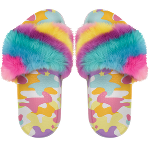 RAINBOW CAMO FUX FUR SLIDES