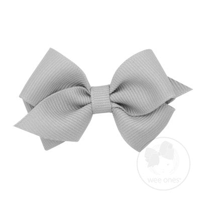 WEE ONES GROSGRAIN SHELL GRAY BOW SGR