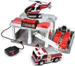 MAXX ACTION RESCUE GARAGE WITH HELICOPTER & FIRE TRUCK