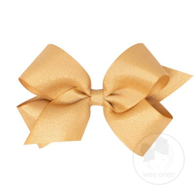 WEE ONES GROSGRAIN GOLD BOW GLD