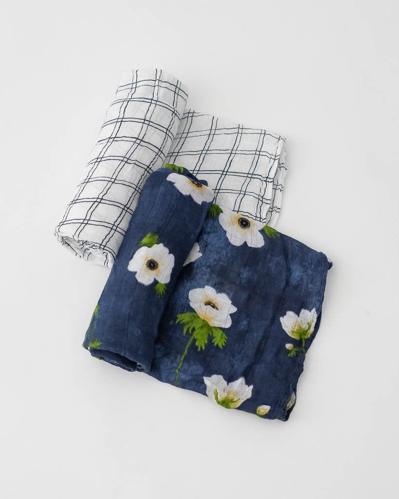 LITTLE UNICORN DELUXE MUSLIN SWADDLES 2 PACK- WHITE ANEMONE