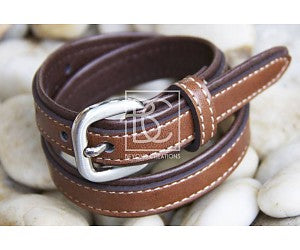 BEYOND CREATIONS-BOY'S DOUBLE LEATHER BELT BROWN/LIGHT BROWN
