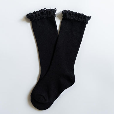 LITTLE STOCKING COMPANY BLACK LACE TOP KNEE HIGHS