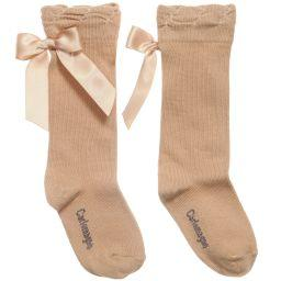 CARLOMAGNO KNEE HIGH SOCKS-CAMEL SATIN BACK BOW