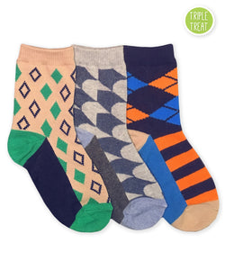 JEFFERIES SOCKS BOYS FUNKY DIAMOND PRESS DRESS SOCKS