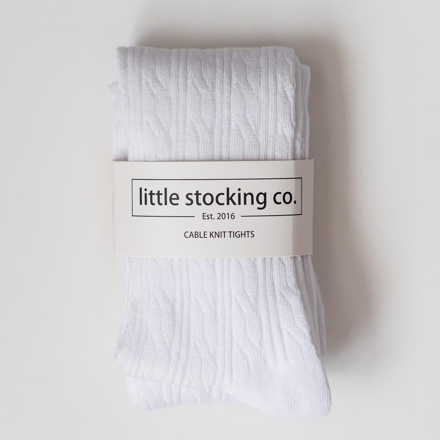 LITTLE STOCKING COMPANY WHITE CABLE KNIT TIGHTS