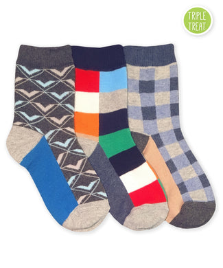 JEFFERIES SOCKS BOYS FUNKY PLAID DRESS SOCKS