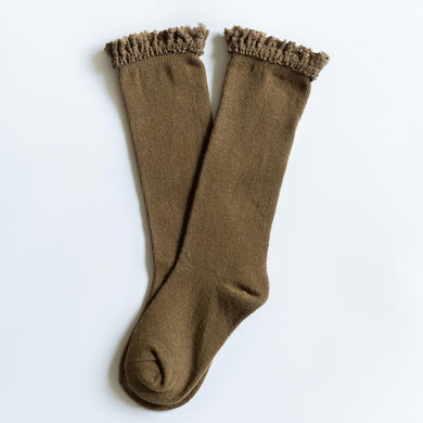 LITTLE STOCKING COMPANY OLIVE LACE TOP KNEE HIGHS