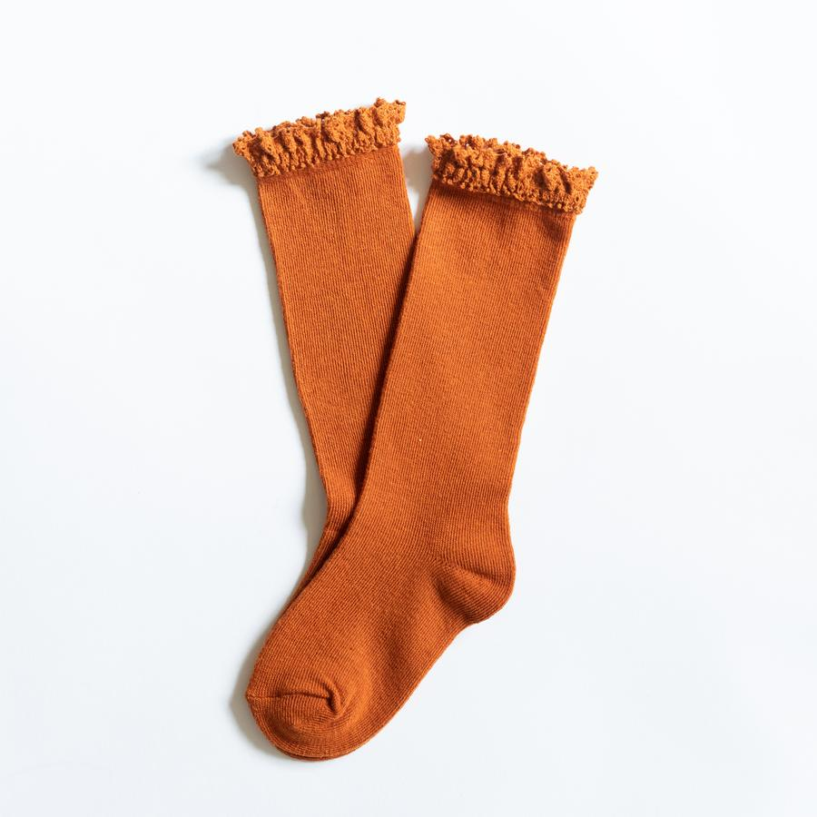 LITTLE STOCKING COMPANY PUMPKIN SPICE LACE TOP KNEE HIGHS