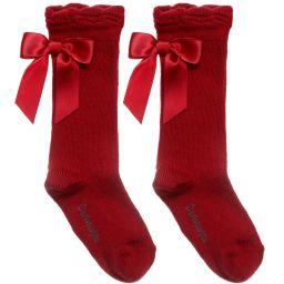 CARLOMAGNO KNEE HIGH SOCKS-RED SATIN BACK BOW
