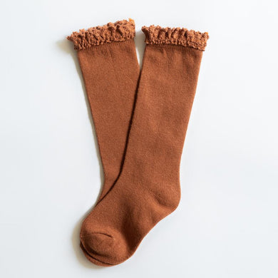 LITTLE STOCKING COMPANY SUGAR ALMOND LACE TOP KNEE HIGHS