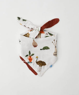 LITTLE UNICORN DELUXE MUSLIN REVERSIBLE BANDANA BIB- SAFARI SOCIAL
