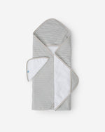 LITTLE UNICORN HOODED TOWEL SET- GREY STRIPE