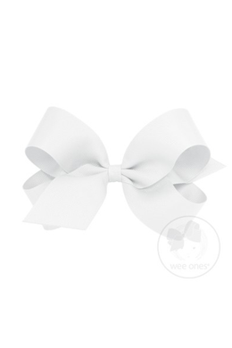 WEE ONES GROSGRAIN WHITE BOW WHT