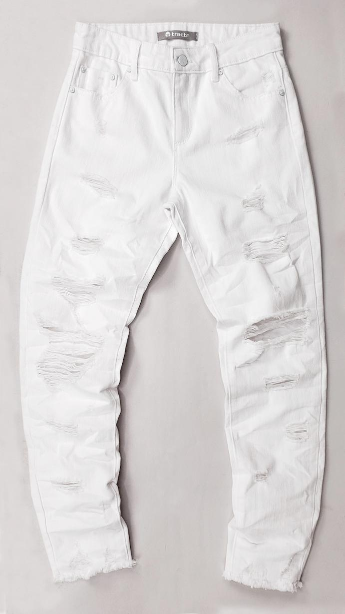 TRACTR GIRLS WHITE HIGH RISE DISTRESSED WEEKENDER PANTS