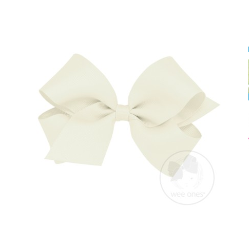 WEE ONES GROSGRAIN ANTIQUE WHITE BOW ANW