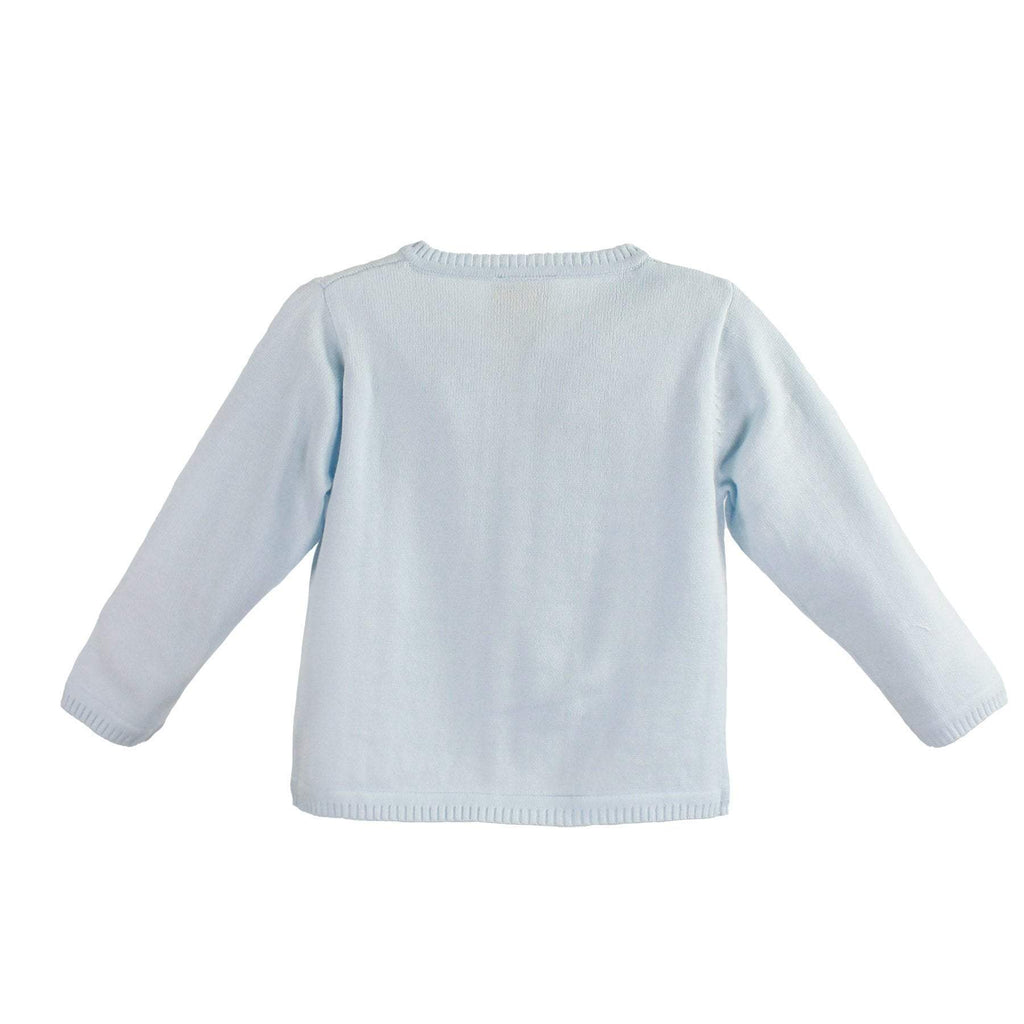 PETIT AMI BLUE LADDER EDGE BASIC CARDIGAN SWEATER