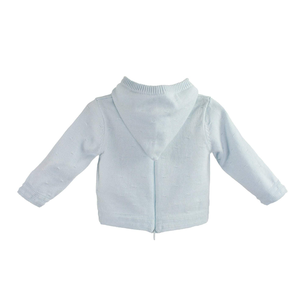 PETIT AMI LIGHT BLUE BACK ZIP HOODED CARDIGAN