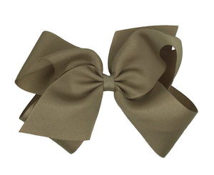 WEE ONES GROSGRAIN KHAKI BOW KAK