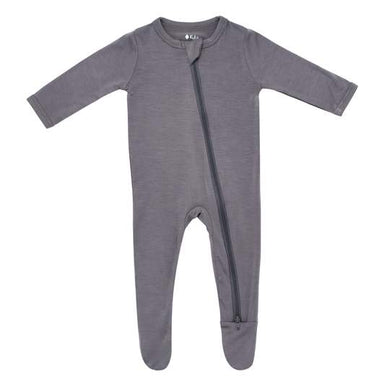 KYTE BABY ZIPPERED FOOTIE CHARCOAL