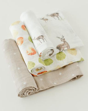 LITTLE UNICORN COTTON MUSLIN SWADDLES 3 PACK- OH DEER!