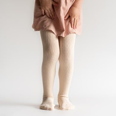 LITTLE STOCKING COMPANY VANILLA CREAM CABLE KNIT TIGHTS