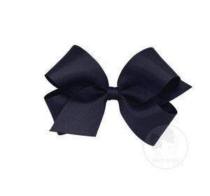 WEE ONES GROSGRAIN NAVY BOW NVY