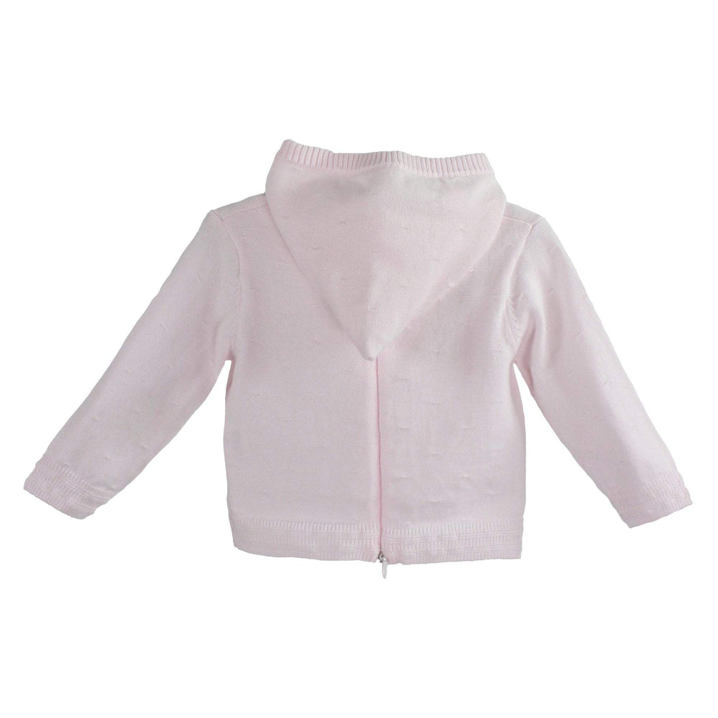 PETIT AMI LIGHT PINK BACK ZIP HOODED CARDIGAN