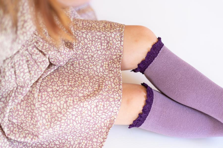 LITTLE STOCKING COMPANY PURPLE + PLUM LACE TOP KNEE HIGHS