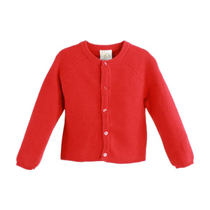 PETIT AMI RED PURL KNIT CARDIGAN SWEATER