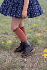 LITTLE STOCKING COMPANY RUST LACE TOP KNEE HIGHS