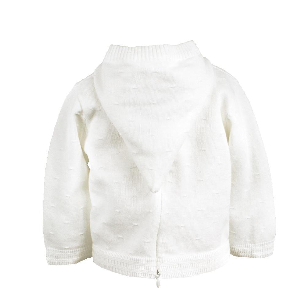 PETIT AMI WHITE BACK ZIP HOODED CARDIGAN