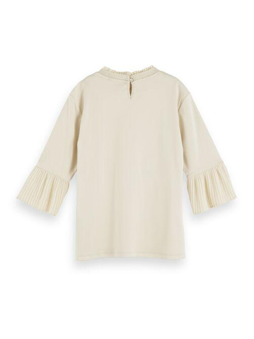 3/4 Sleeve Tee with Pleated Detail GIRLS CLOTHING SCOTCH RBELLE
